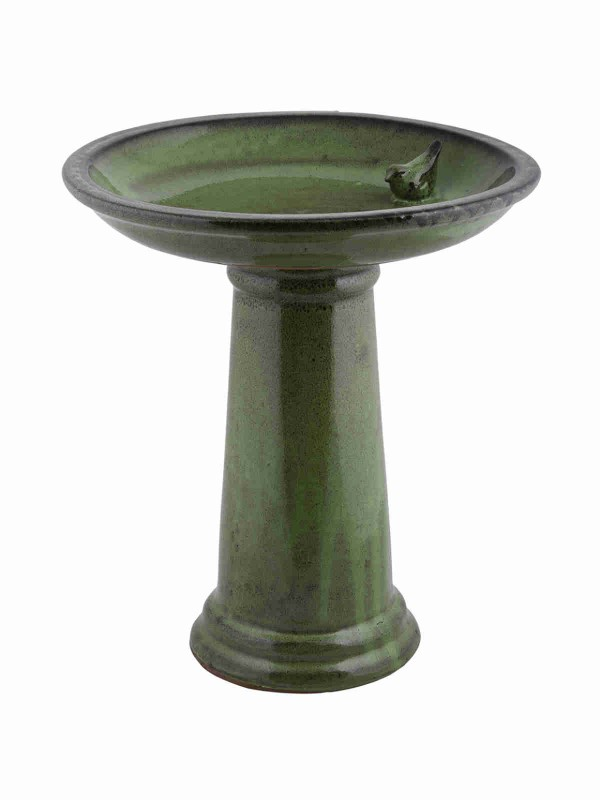 Green ceramic Bird Bath